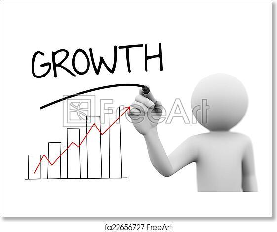 Free Art Print Of 3d Person Writing Word Growth Progress Bar Chart