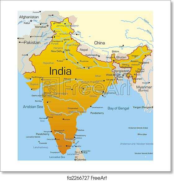 Free art print of India country. Vector map of India country ...