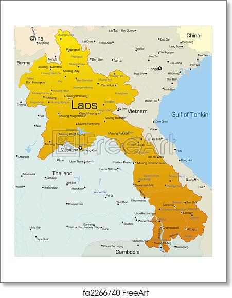 Free art print of Laos country. Vector map of Laos country | FreeArt ...