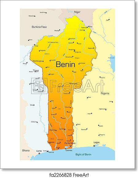 Free Art Print Of Benin Country Abstract Vector Color Map Of - Benin map