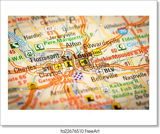 Free art print of St. Louis City on a Road Map. Map Photography: St ...