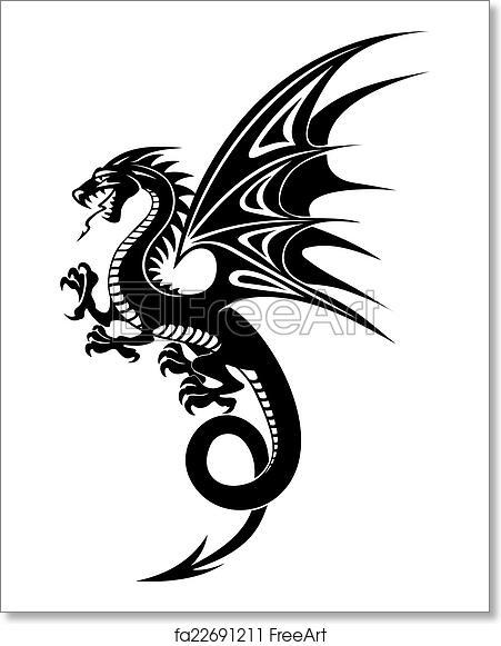Free art print of Black dragon. Black danger dragon