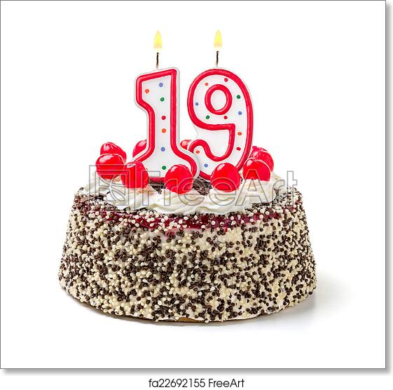 Free Art Print Of Birthday Cake With Burning Candle Number 19