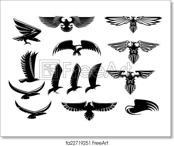 Free Art Print Of Eagle Falcon And Hawk Birds Set