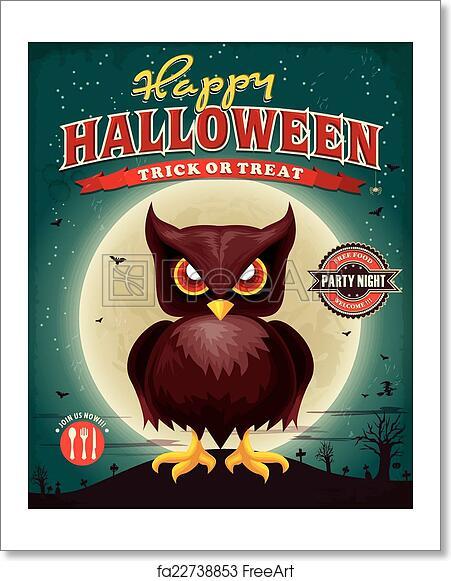 free art print of vintage halloween poster design freeart fa22738853