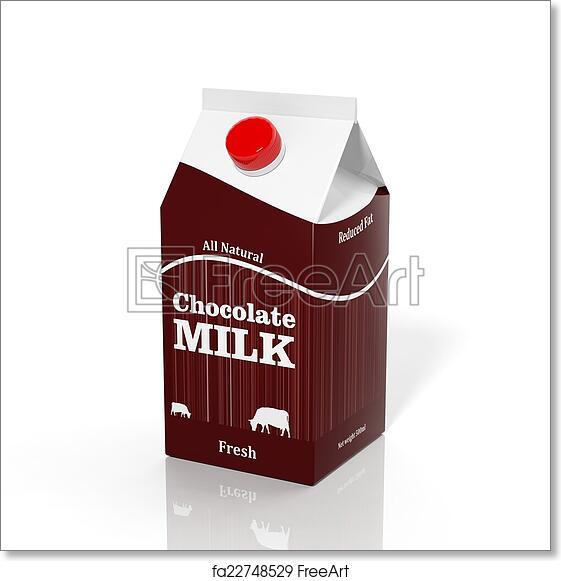 Free art print of 3D choco milk carton box isolated on white ...