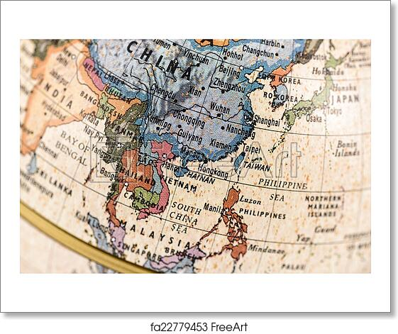 free art print of globe east and southeast asia