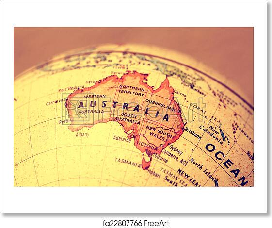 World Map With Australia.Free Art Print Of Australia On Map