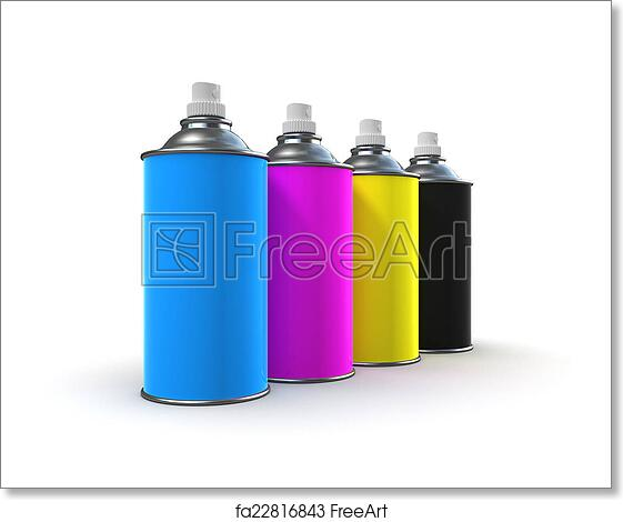 Free art print of 3d CMYK Spray paint cans