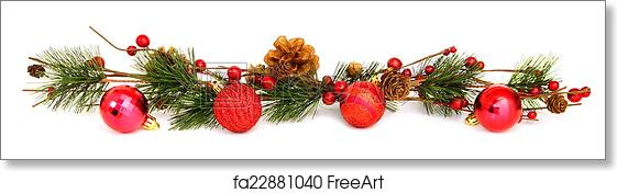 Free art print of Christmas bauble and garland border