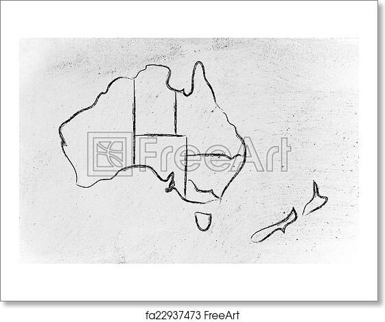 Free art print of world map and continents borders and states of free art print of world map and continents borders and states of australia gumiabroncs Image collections