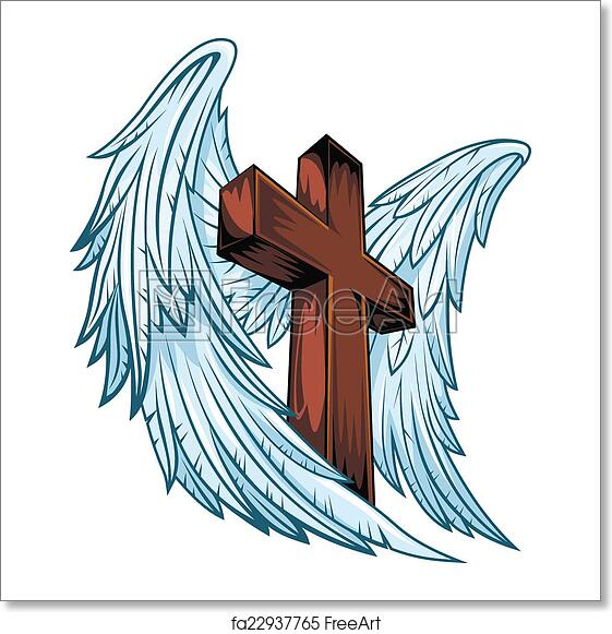 Free Art Print Of Angel Wings With Wooden Cross Angel Wings With