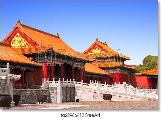 Free Art Print Of Ancient Pavilions In Forbidden City Beijing China