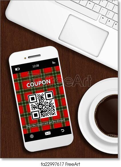Free Art Print Of Mobile Phone With Christmas Coupon Mug Of Coffee