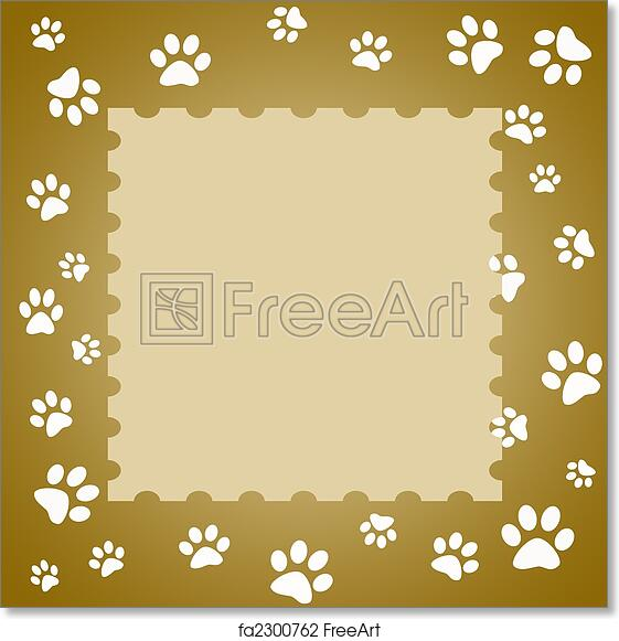 Free art print of Paw print frame. Brown paw print frame with white ...
