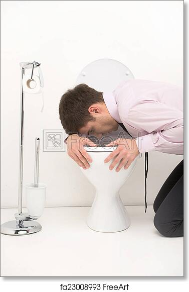 Peachy Free Art Print Of Man Kneeling Down In Bathroom Vomiting Into Toilet Young Guy Standing Over Toilet Seat With Tie Spiritservingveterans Wood Chair Design Ideas Spiritservingveteransorg