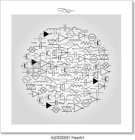 Free art print of Schematic symbols in electrical engineering in circle  eps10