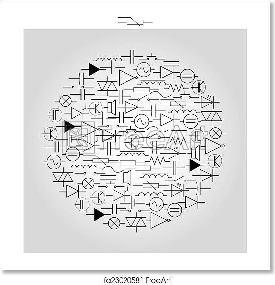art print of schematic symbols in electrical engineering in art print of schematic symbols in electrical engineering in circle eps10