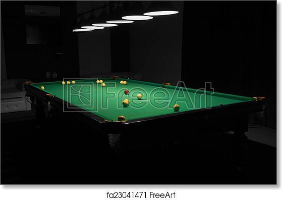Free Art Print Of Pool Table In Empty Dimly Lit Pool Hall Billiard - Pool table hall near me