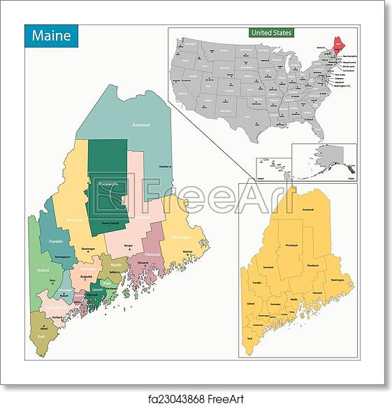 Free Art Print Of Maine Map Map Of Maine State Designed In
