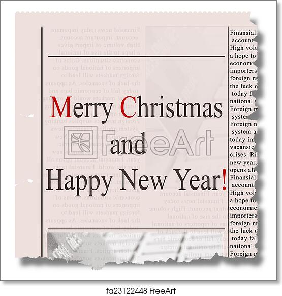 Free art print of Merry christmas and happy new year newspaper ...