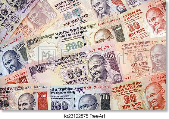 Free Art Print Of Modern Indian Rupees Paper Currency Arrangement