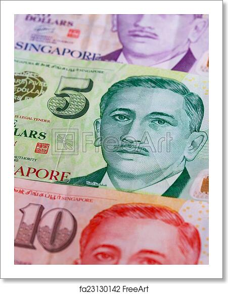 Free art print of Different Singapore Dollar banknotes on the table
