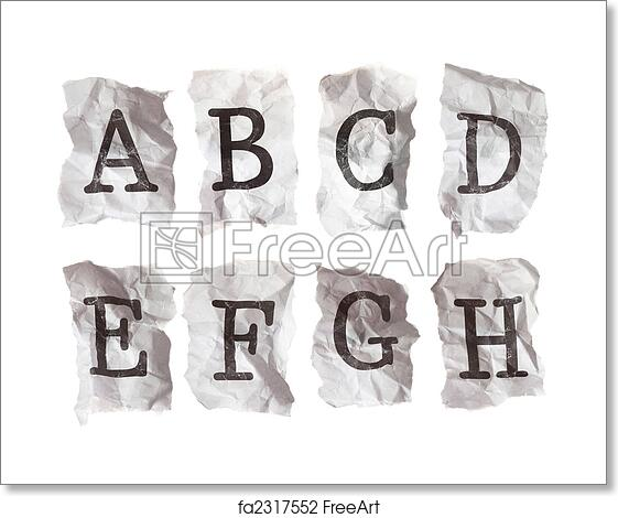 Free art print of Typewritten alphabets on crumpled paper -- Letters A-H