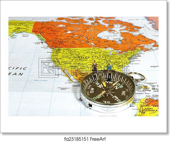 America Map With Compass