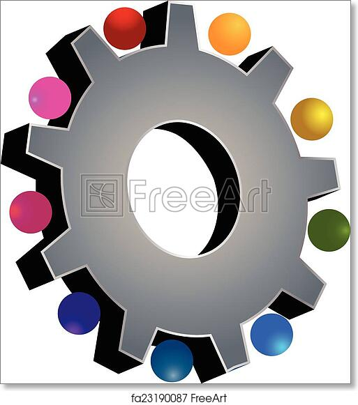 photograph relating to Free Printable Gear Template identified as Cost-free artwork print of Teamwork grey devices symbol
