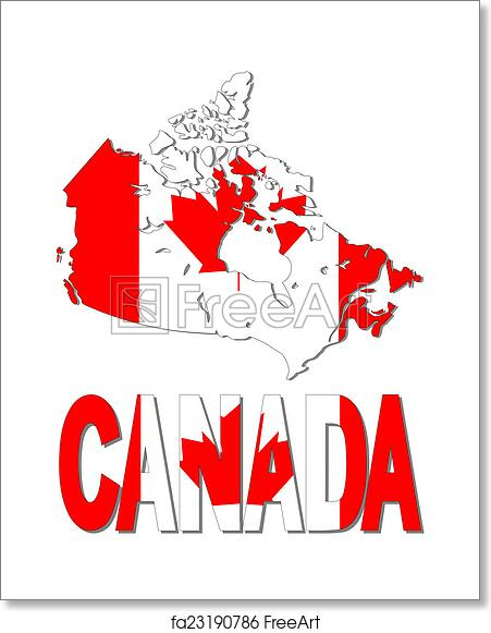 Canada Map Flag.Free Art Print Of Canada Map Flag And Text Illustration Freeart
