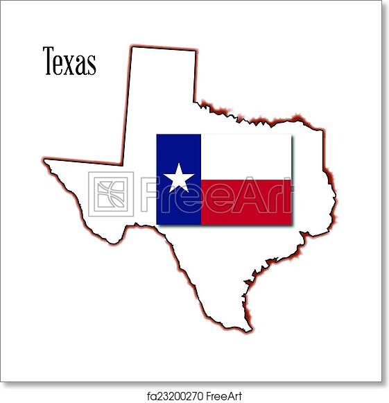 Outline Of Texas Map.Free Art Print Of Texas Map And Flag Outline Of The State Of Texas