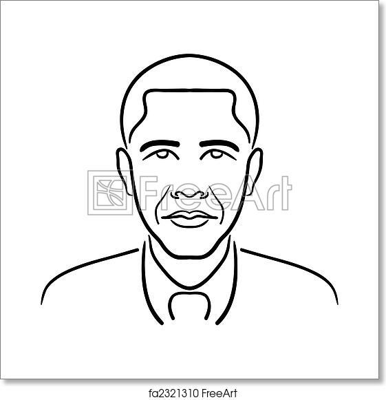 Free art print of Barack Obama line drawing. Simple, clean