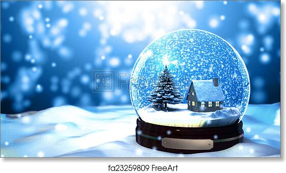A Christmas Snow.Free Art Print Of Christmas Snow Globe Snowflake With Snowfall On Blue Background