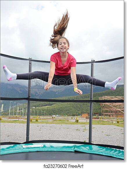 Teen girls jumping on trampolines — img 8
