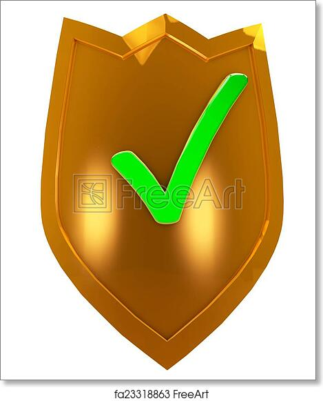 Free Art Print Of Gold Security Shield Golden Shield With The