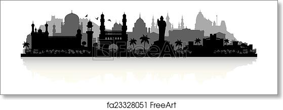 Free art print of Hyderabad India city skyline silhouette