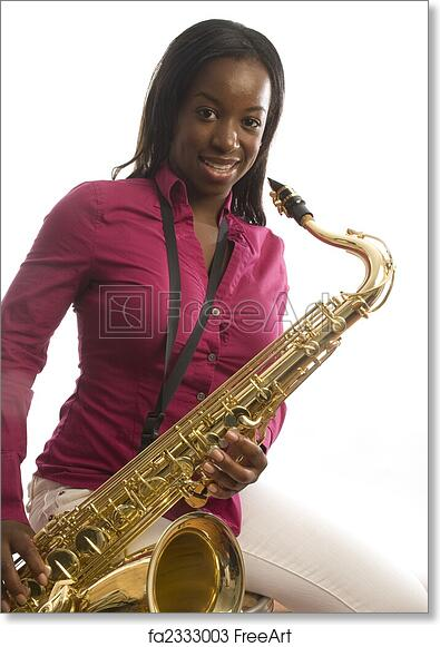 Free art print of Young african american girl playing saxophone music