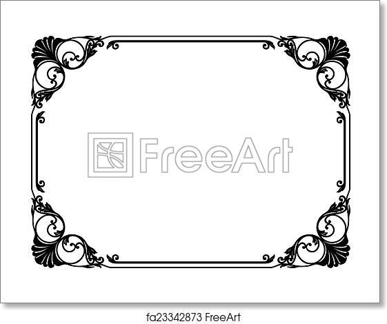 Free art print of Calligraphy penmanship curly baroque frame black ...