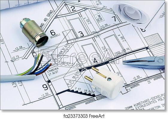 free art print of a house plan  electrical