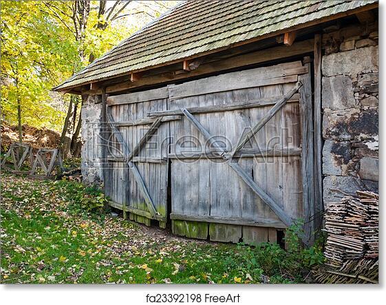 Free Art Print Of Rustic Barn Door. Rustic Wooden Barn Gate Of Old Aged Barn  | FreeArt | Fa23392198
