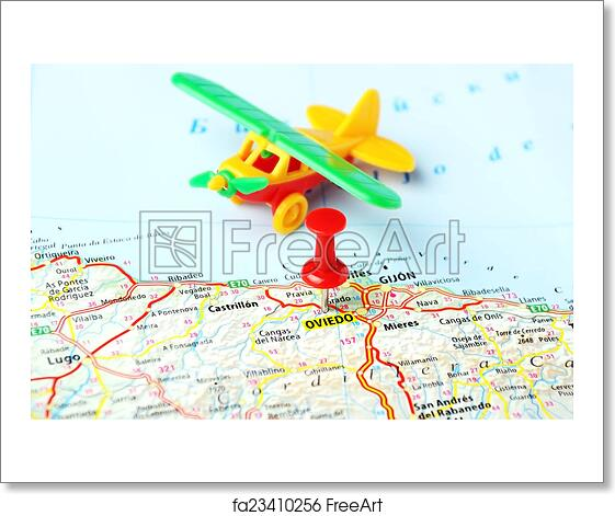 Free Art Print Of Oviedo Spain Map Airplane Oviedo Spain Map And