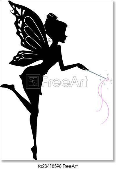 graphic regarding Free Printable Fairy Silhouette identified as Totally free artwork print of Fairy Silhouette