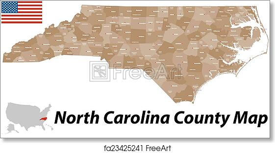 photograph relating to Printable Map of North Carolina Counties known as No cost artwork print of North Carolina County Map