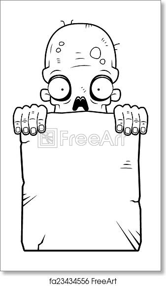 Free Art Print Of Zombie Tombstone A Cartoon Zombie With A Stone