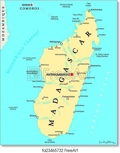 Free art print of Madagascar Political Map Madagascar Political Map
