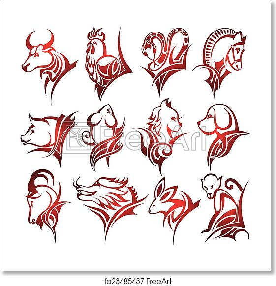 Zodiac signs symbols drawing t