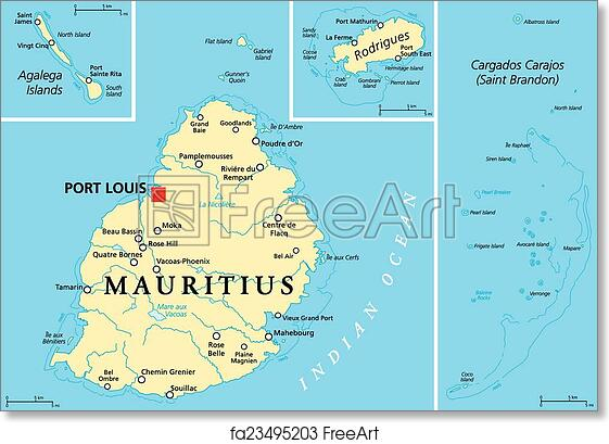 Free art print of Mauritius Political Map Mauritius Political Map