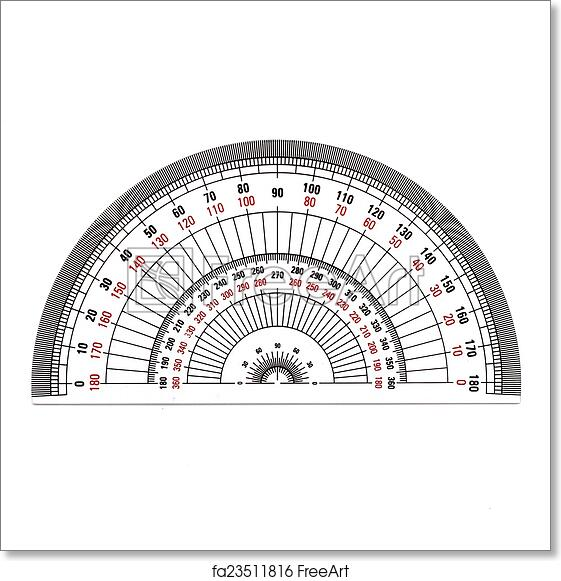 picture relating to Small Printable Protractor referred to as Absolutely free artwork print of Comprehensive-Circle protractor isolated upon white history