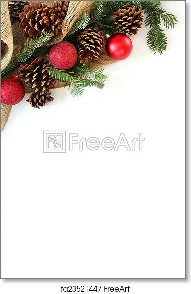 Free Art Print Of Christmas Bulb Pinecone And Evergreen Border Isolated On White